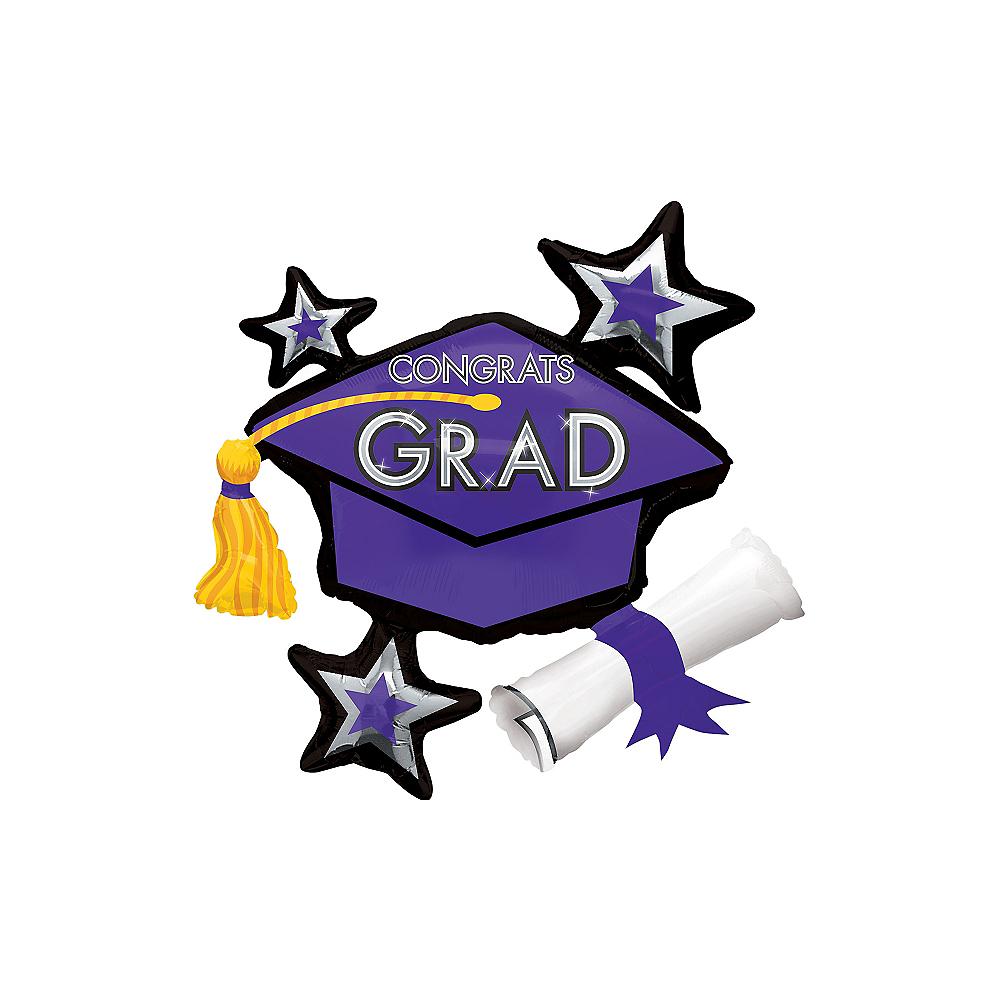 Purple Star Graduation Cap Balloon Image #1