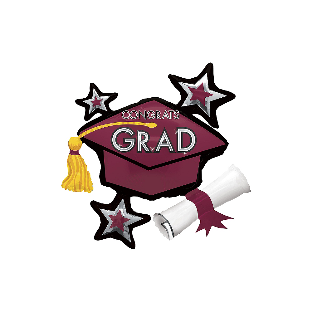 Berry Star Graduation Cap Balloon, 31in Image #1