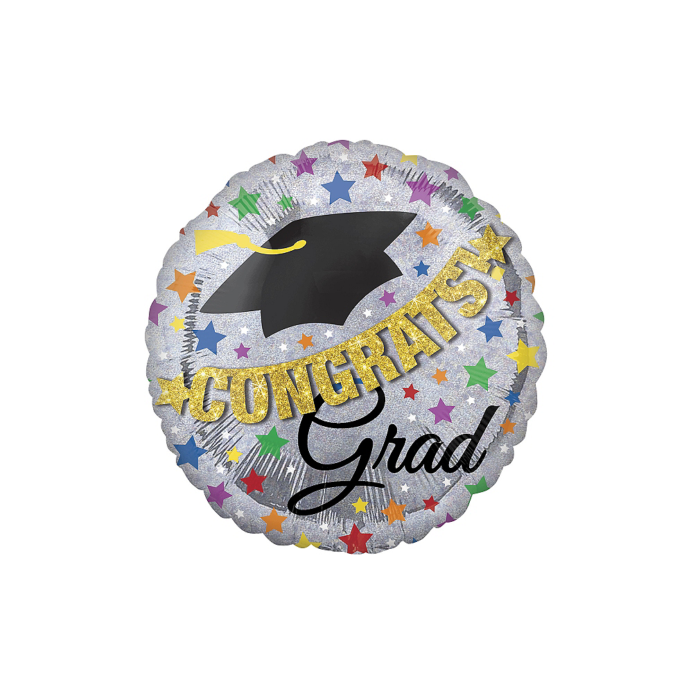 Prismatic Graduation Balloon with Banner - Giant, 31in Image #1