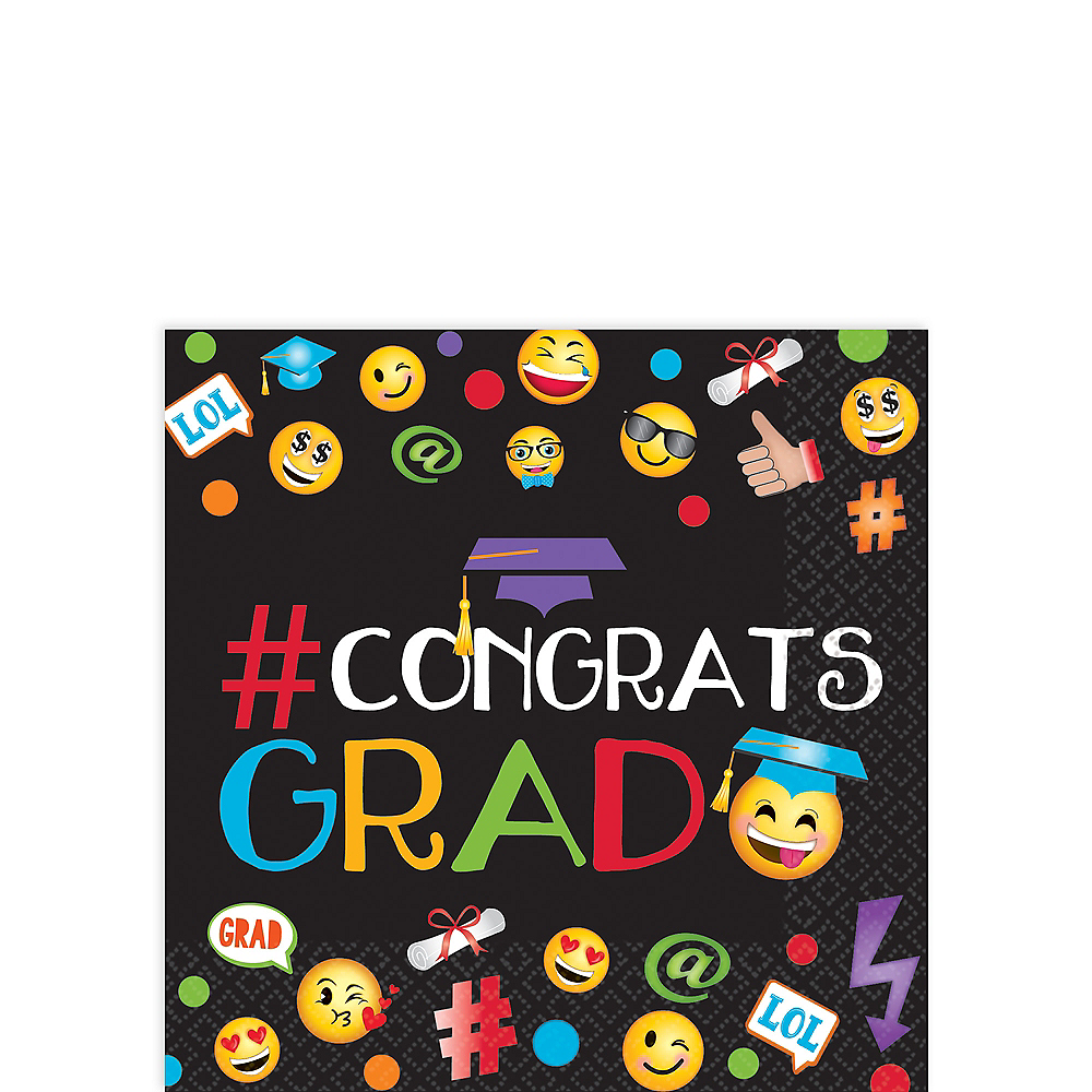 Smiley Graduation Beverage Napkins 125ct Image #1