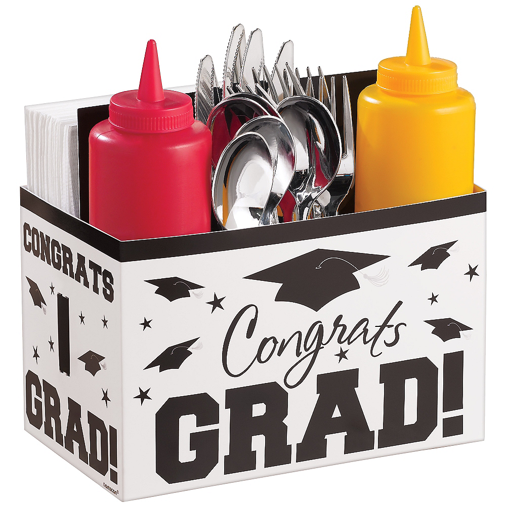 White Graduation Paper Utensil Caddy - Congrats Grad Image #1
