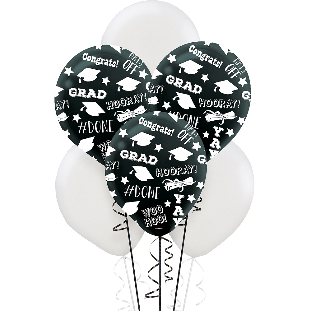 Black & White Graduation Balloons 15ct Image #1
