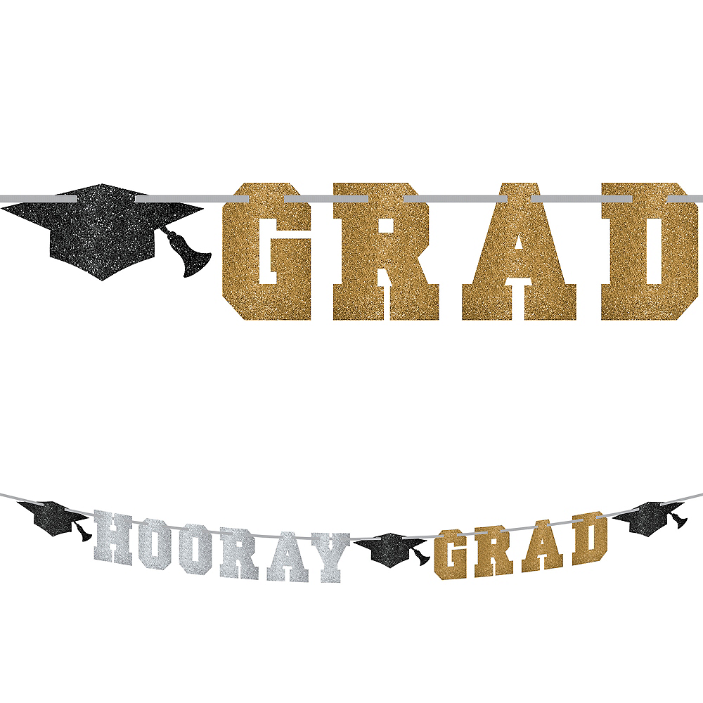 Nav Item for Glitter Hooray Grad Letter Banner - Black, Gold & Silver Graduation Image #1