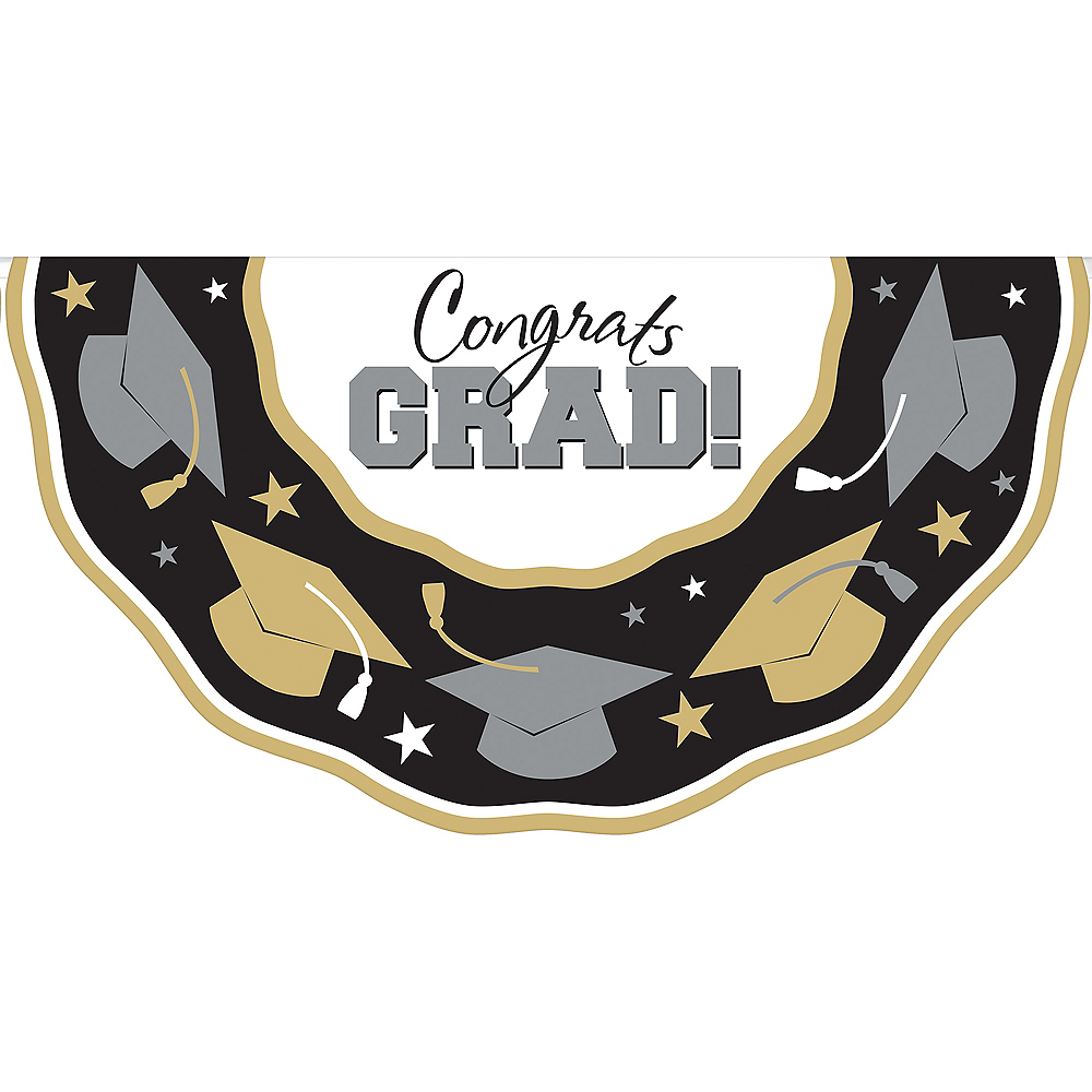 Black, Gold & Silver Graduation Bunting Image #1