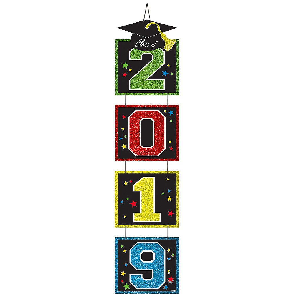 Glitter Multicolor 2019 Graduation Stacked Sign Image #1