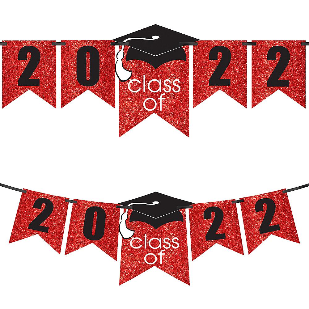 Glitter Red Graduation Year Banner Kit - Congrats Grad Image #1