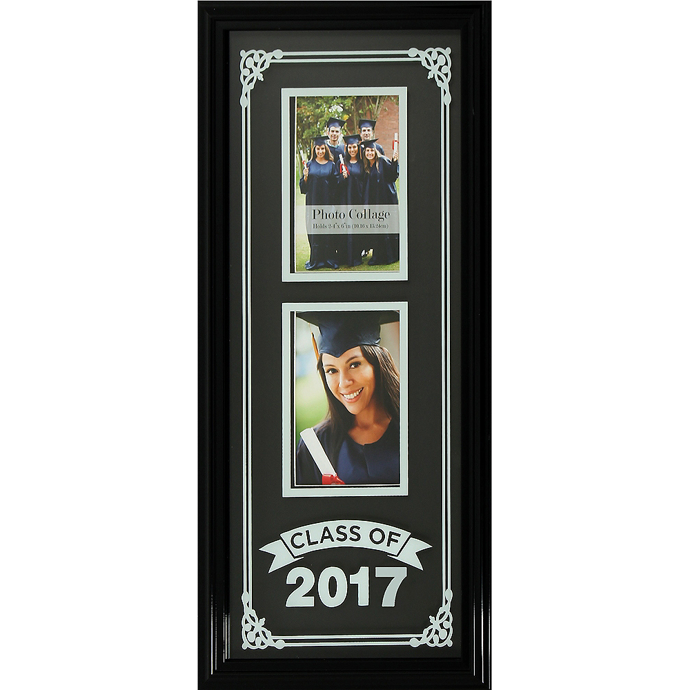 f07ac45bc40 Black Class of 2017 Silk Screened Graduation Photo Frame 9in x 21in ...