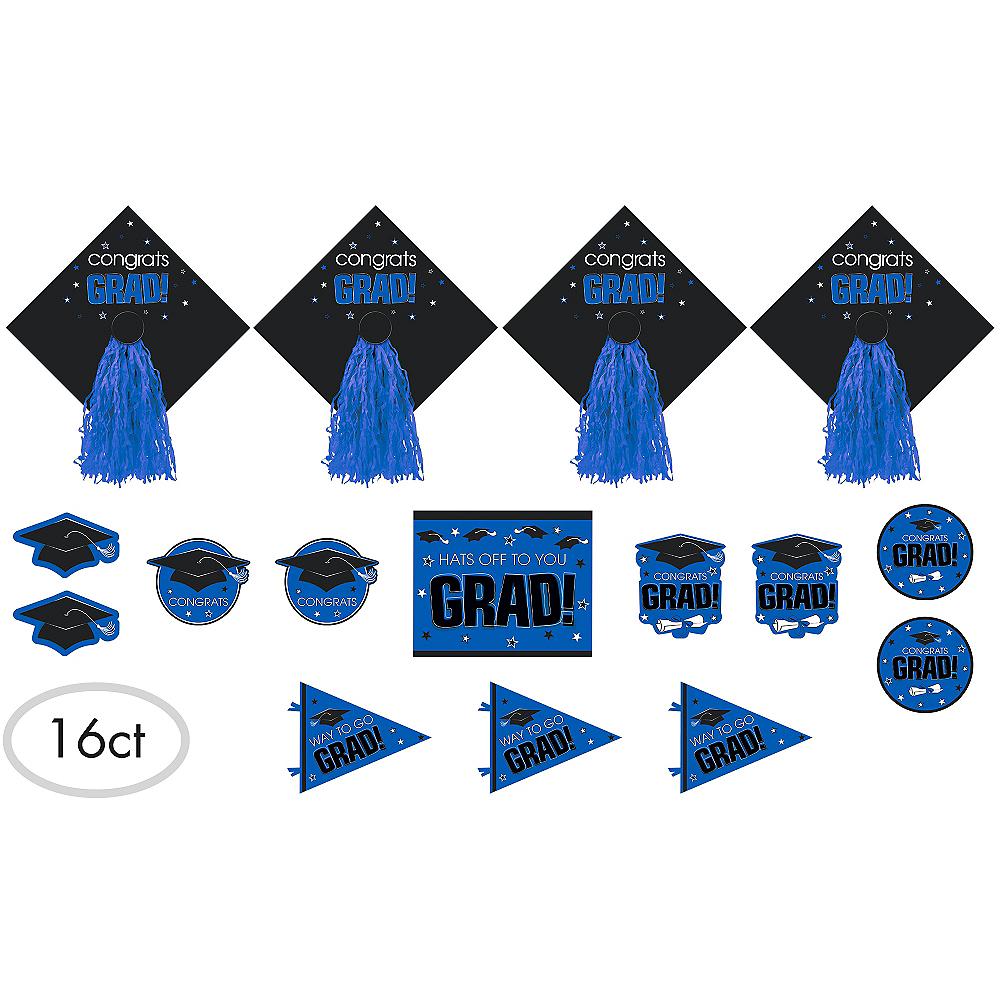 Blue Graduation Cutouts 16ct - Congrats Grad Image #1
