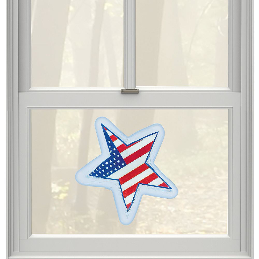 Light-Up LED American Flag Star Gel Cling Decal Image #1