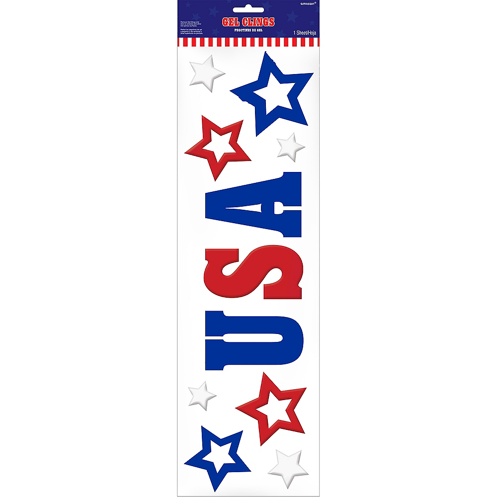 Patriotic Red, White & Blue Gel Cling Decals 10ct Image #3