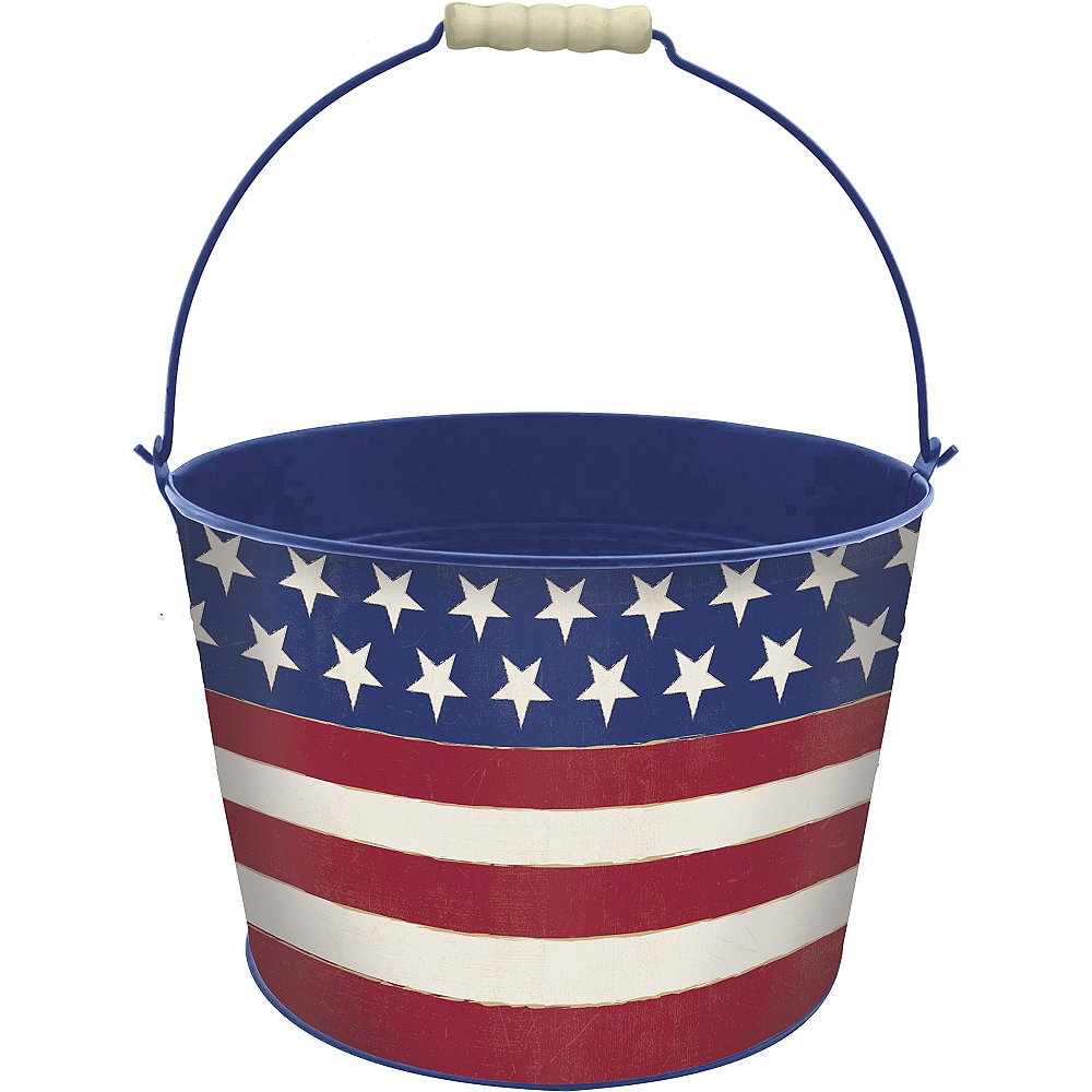 Patriotic American Flag Metal Bucket - Rustic Americana Image #1