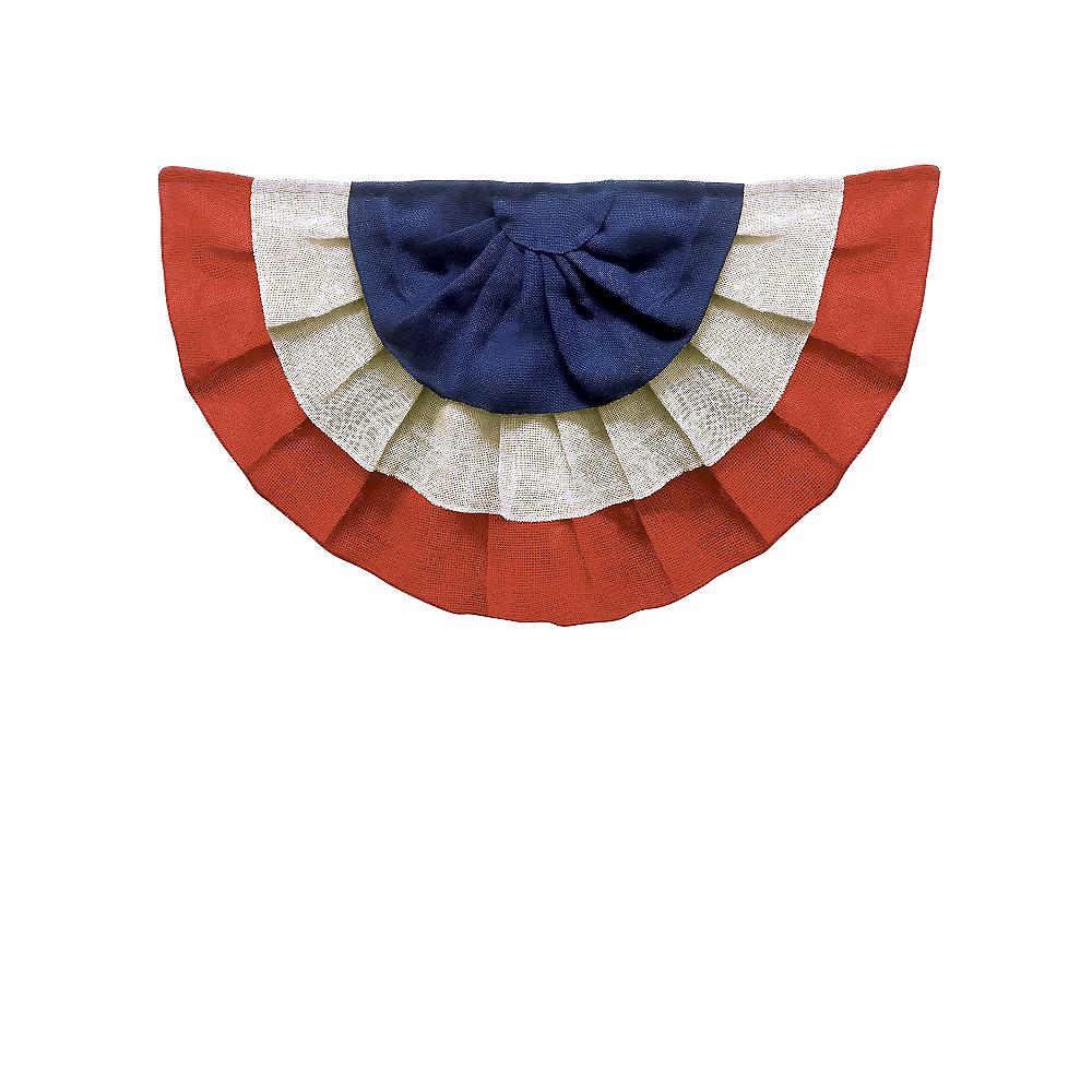 Burlap Patriotic Red, White & Blue Bunting - Rustic Americana Image #1