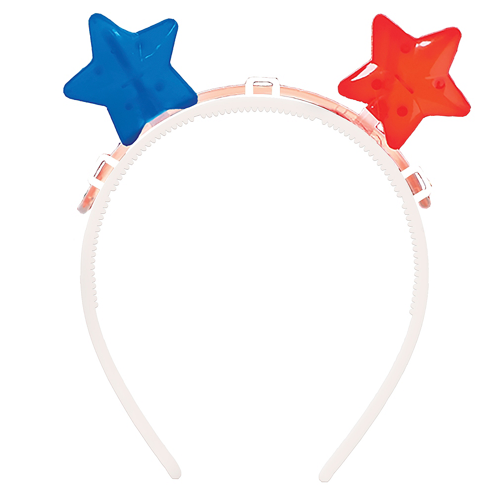 Glow Patriotic Red, White & Blue Star Headband Image #1