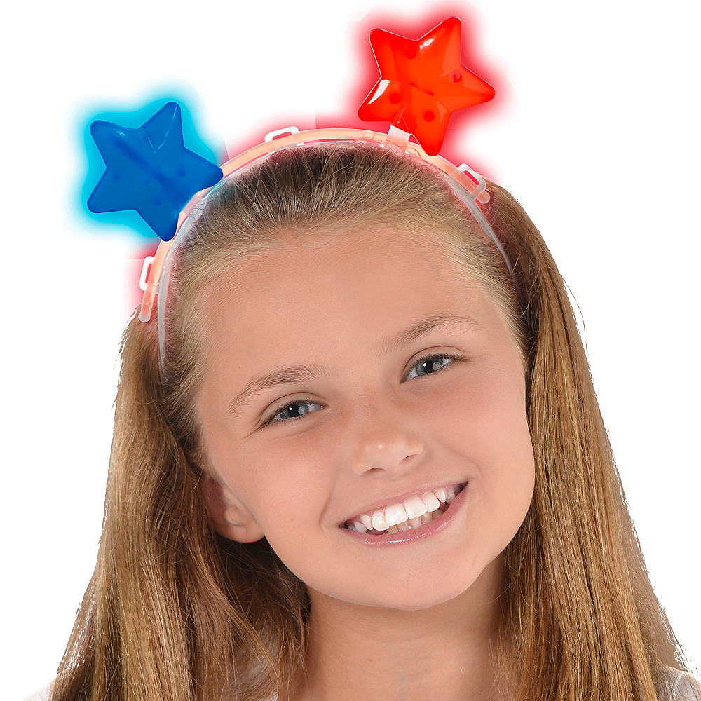 Glow Patriotic Red, White & Blue Star Headband Image #2