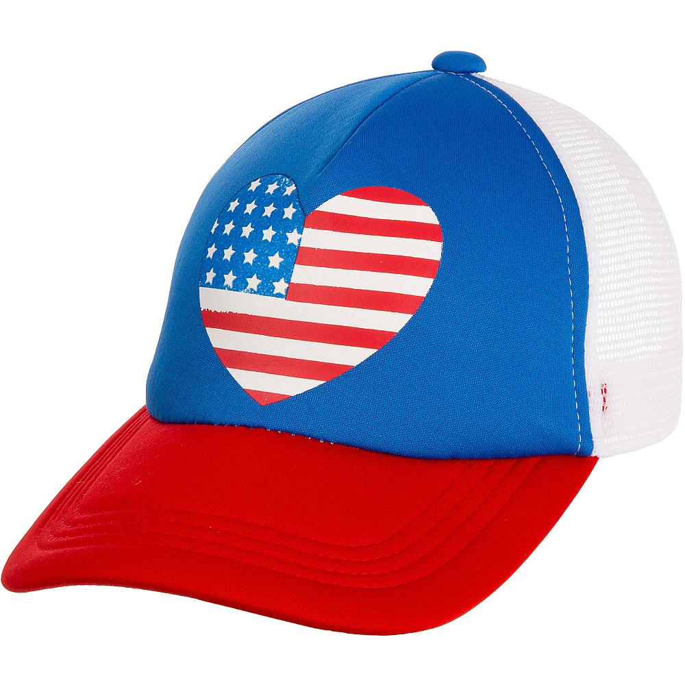 Heart American Flag Trucker Hat Image #1