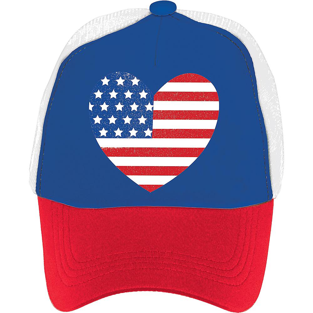 Heart American Flag Trucker Hat Image #2