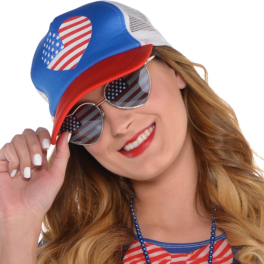 Heart American Flag Trucker Hat Image #3