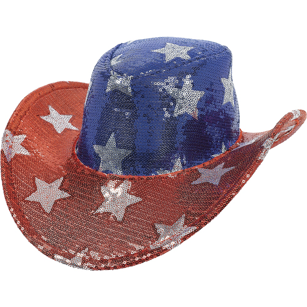 Nav Item for Sequin Stars Patriotic Cowboy Hat Image #1