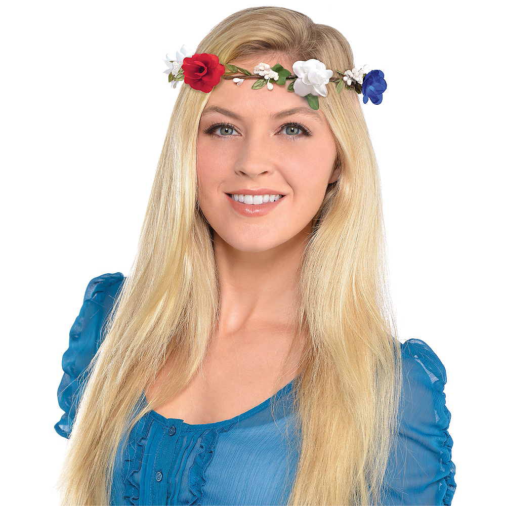 Patriotic Red, White & Blue Floral Headwreath Image #2