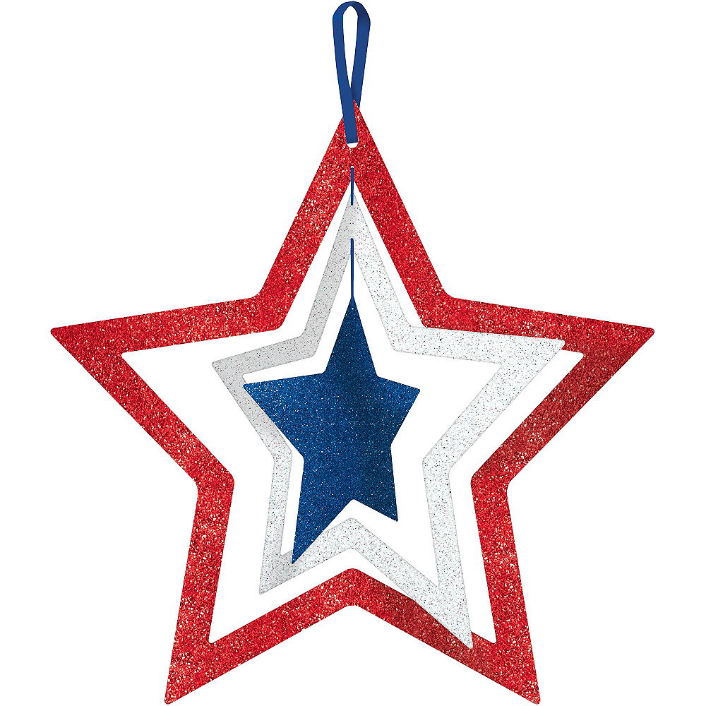 Glitter Patriotic Red, White & Blue Spinning Star Sign Image #1