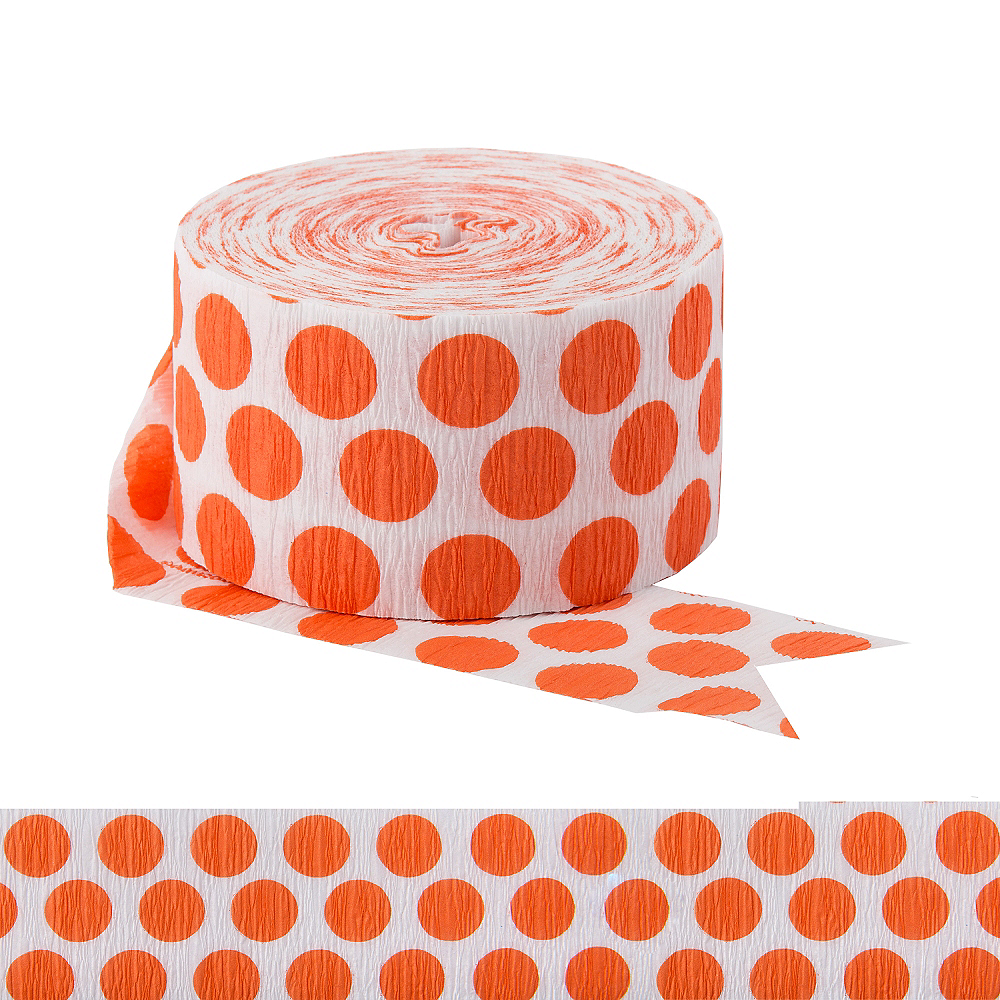 Orange Polka Dot Streamer Image #1