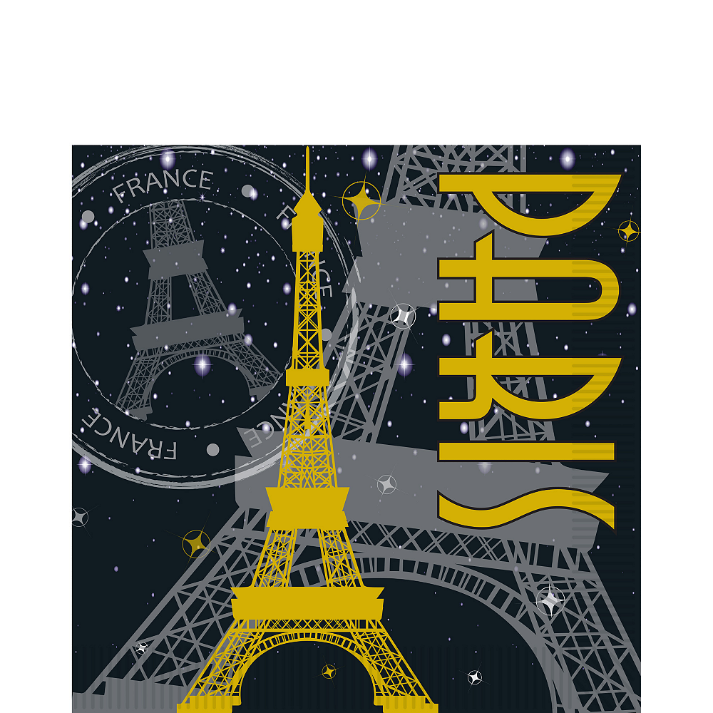 Nav Item for Black & Gold Paris Eiffel Tower Lunch Napkins 16ct Image #1