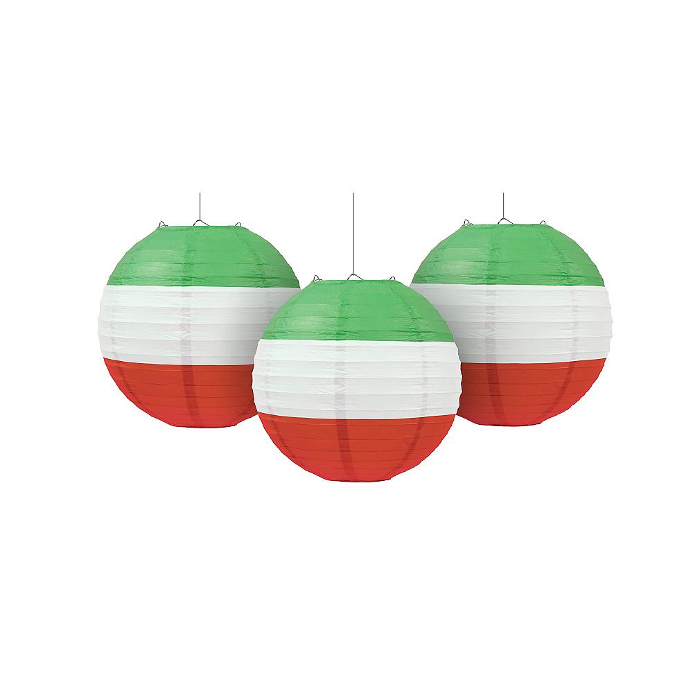 Red, White & Green Paper Lanterns 3ct Image #1