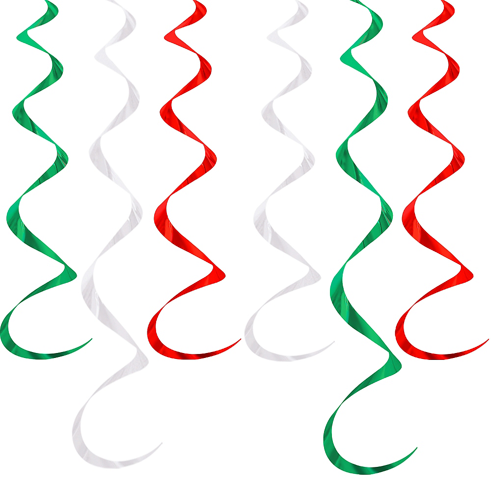 Red, White & Green Swirl Decorations 6ct Image #1