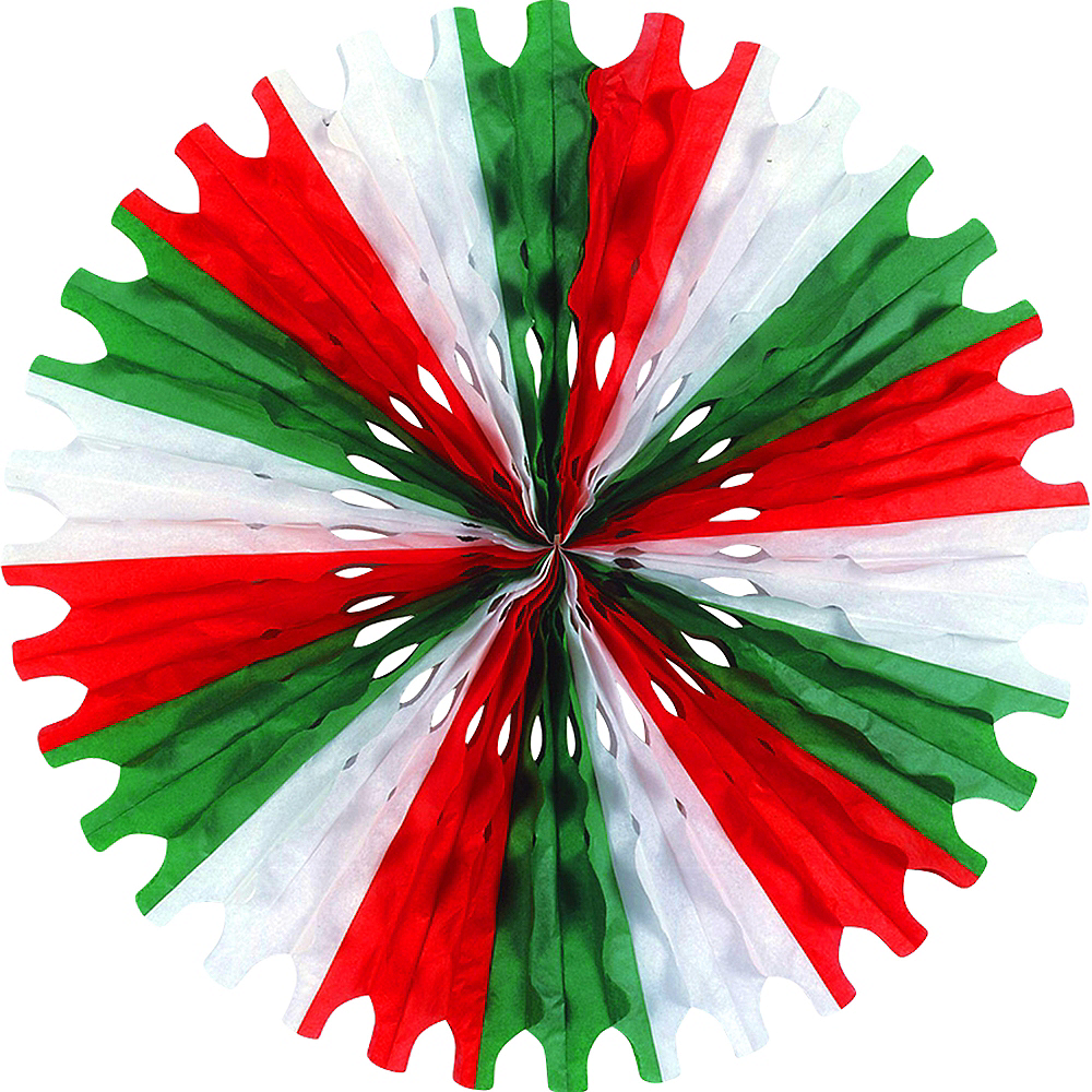 Red, White & Green Paper Fan Decoration Image #1