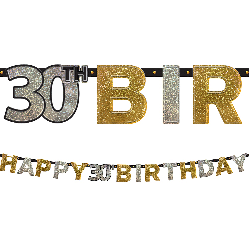 Prismatic 30th Birthday Banner - Sparkling Celebration Image #1