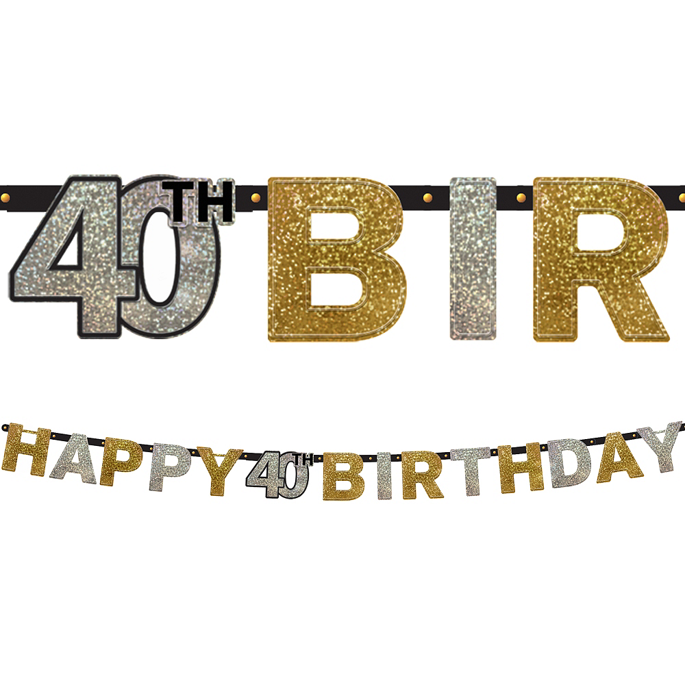 Prismatic 40th Birthday Banner - Sparkling Celebration Image #1