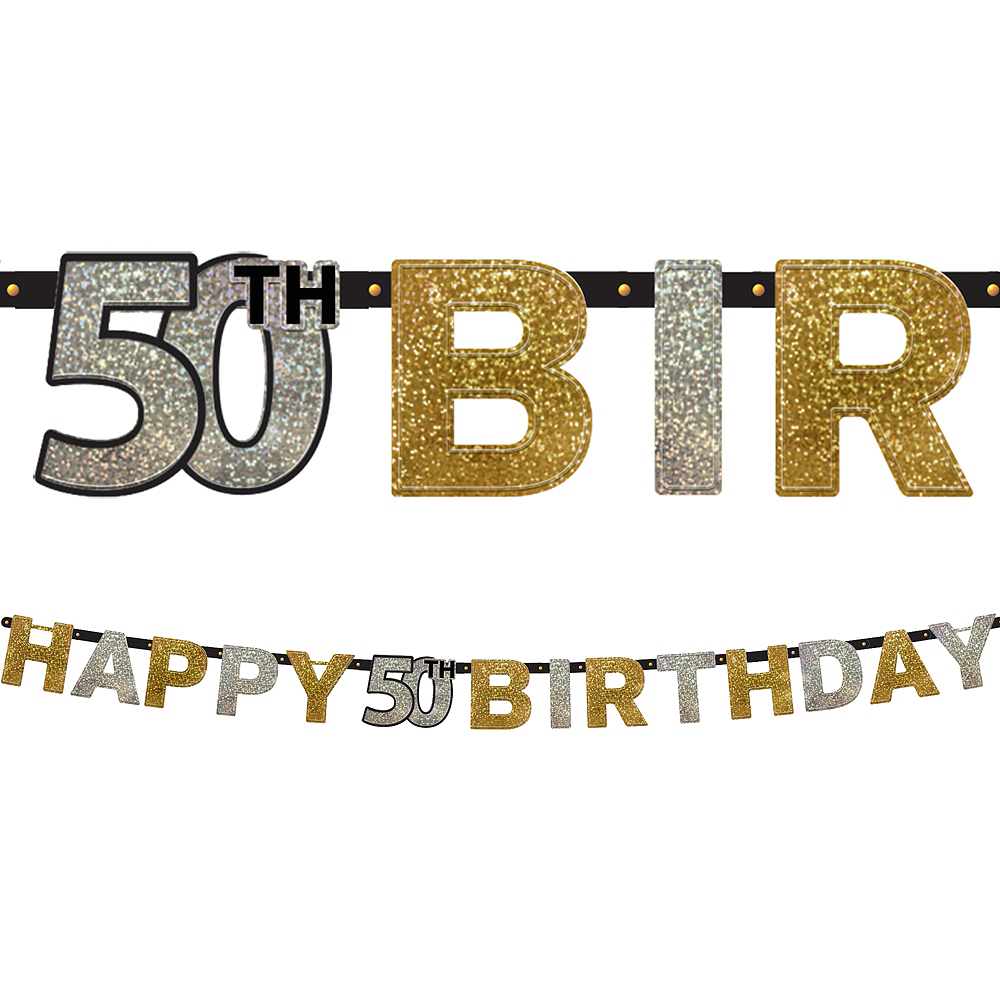 Prismatic 50th Birthday Banner - Sparkling Celebration Image #1