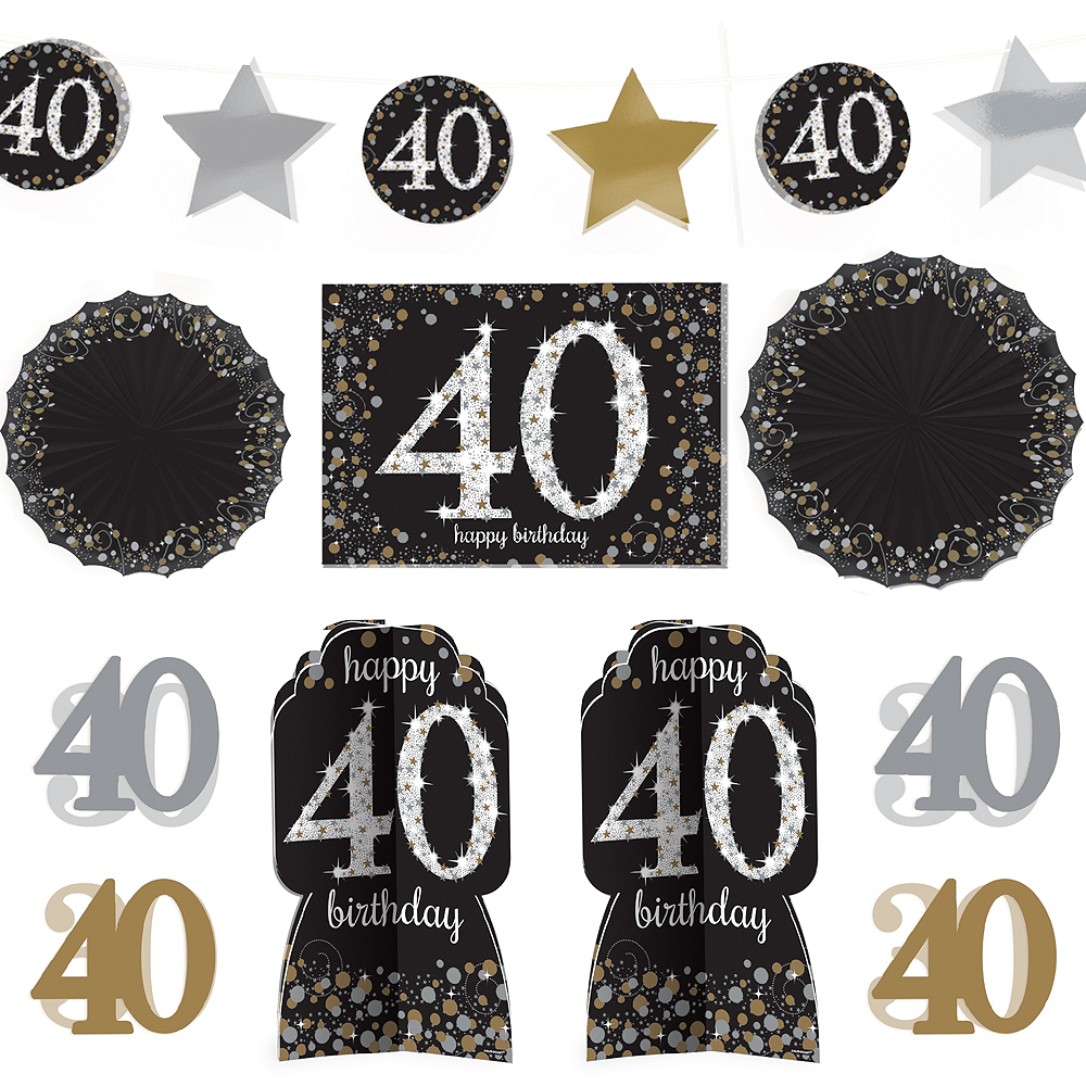 40th Birthday Room Decorating Kit 10pc - Sparkling Celebration Image #1