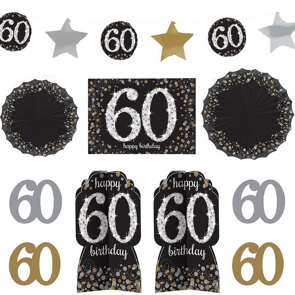60th Birthday Room Decorating Kit 10pc - Sparkling Celebration Image #1