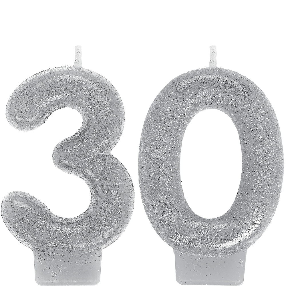 Glitter Silver Number 30 Birthday Candles 2ct Image 1