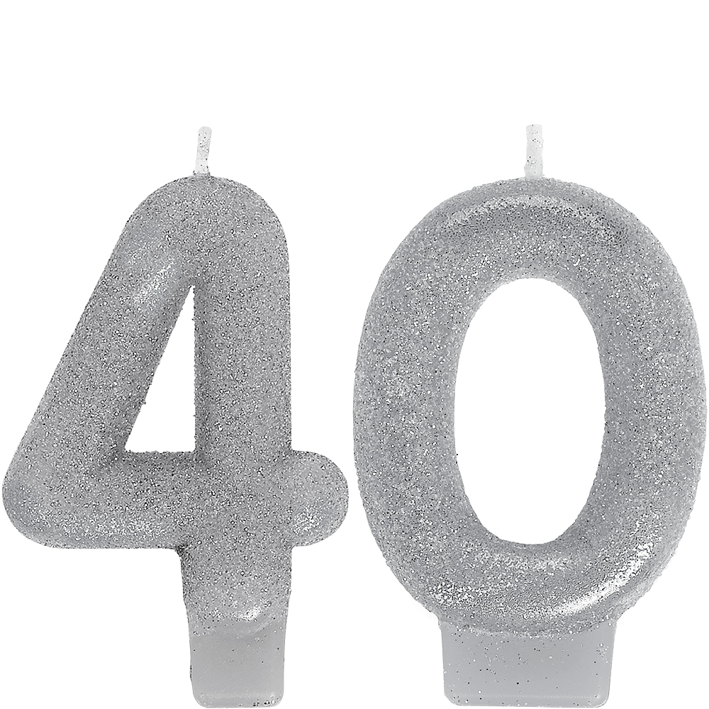 Glitter Silver Number 40 Birthday Candles 2ct Image #1