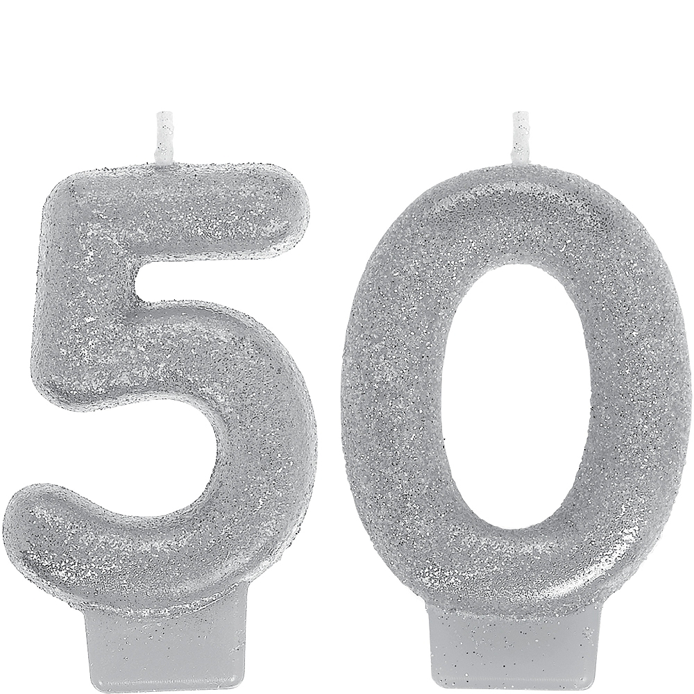 Glitter Silver Number 50 Birthday Candles 2ct
