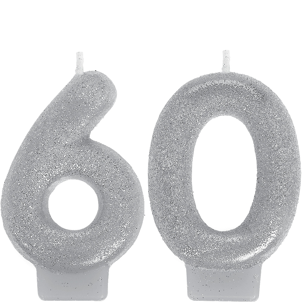 Glitter Silver Number 60 Birthday Candles 2ct Image #1