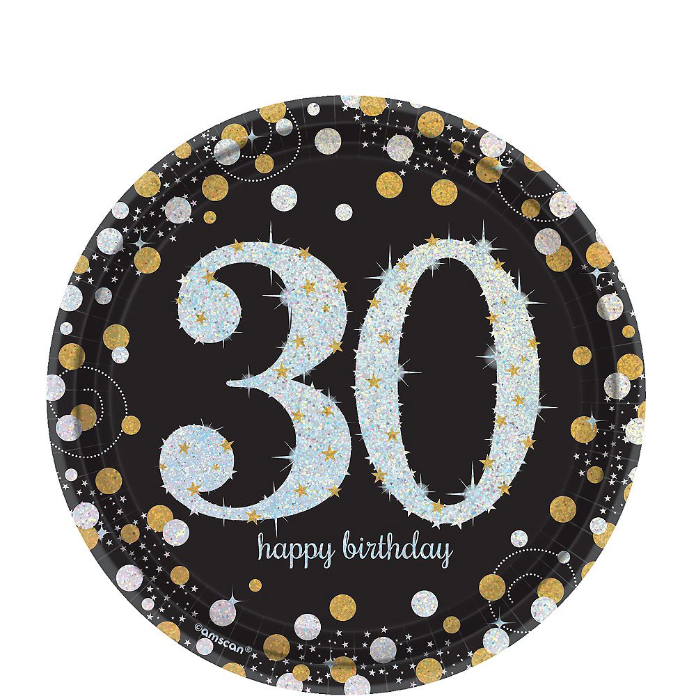Prismatic 30th Birthday Dessert Plates 8ct - Sparkling Celebration Image #1