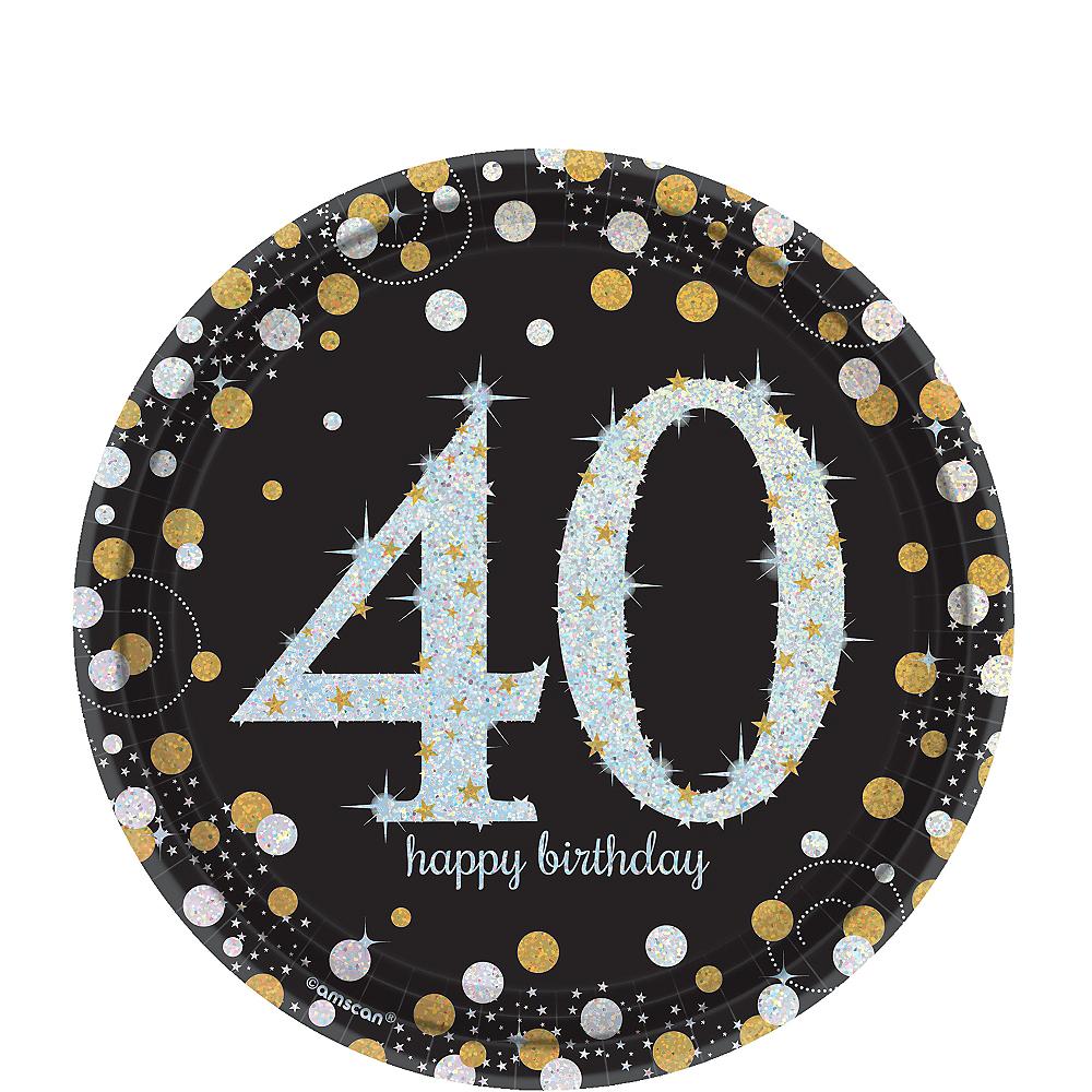 Prismatic 40th Birthday Dessert Plates 8ct - Sparkling Celebration Image #1