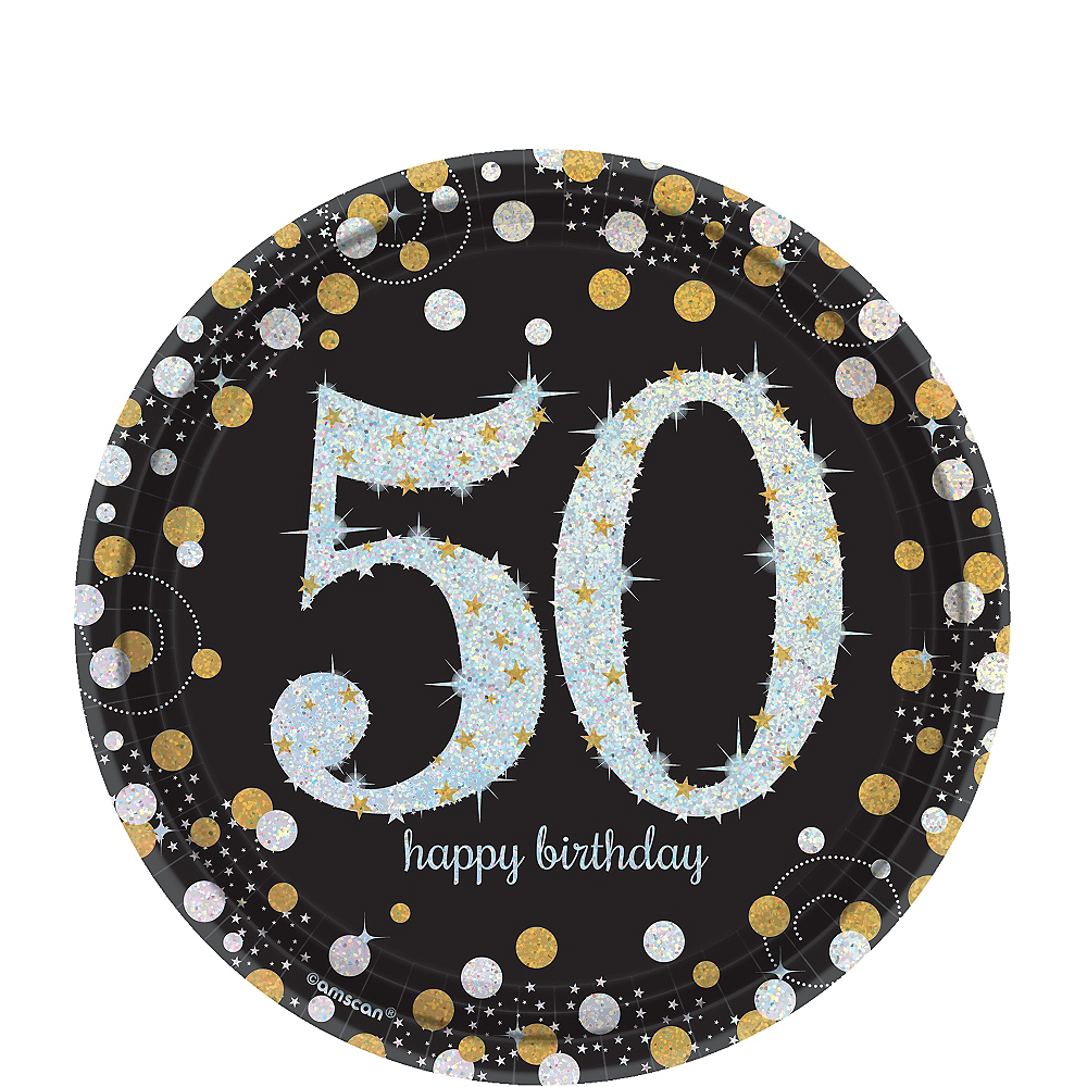 Prismatic 50th Birthday Dessert Plates 8ct - Sparkling Celebration Image #1