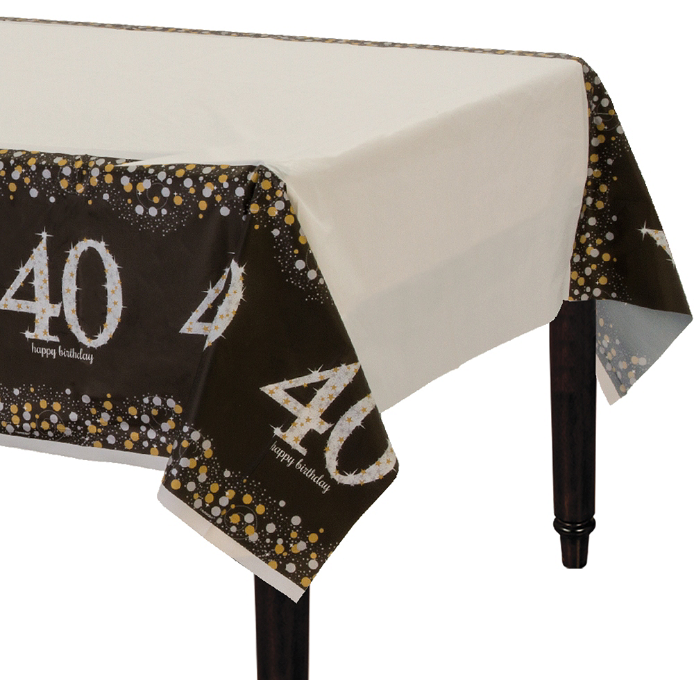 40th Birthday Table Cover - Sparkling Celebration Image #1