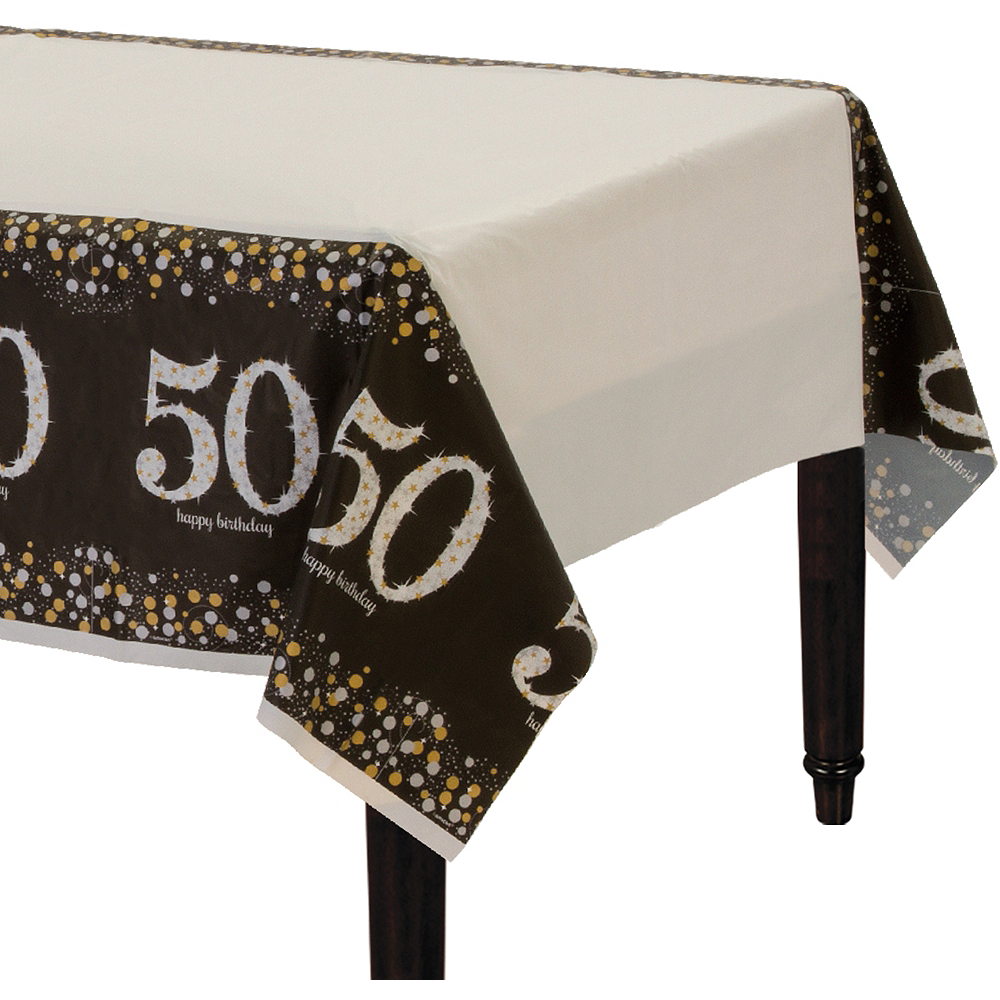 50th Birthday Table Cover - Sparkling Celebration Image #1