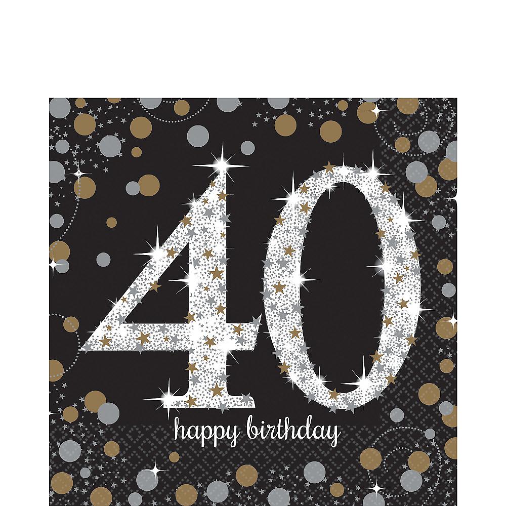 40th Birthday Lunch Napkins 16ct - Sparkling Celebration Image #1