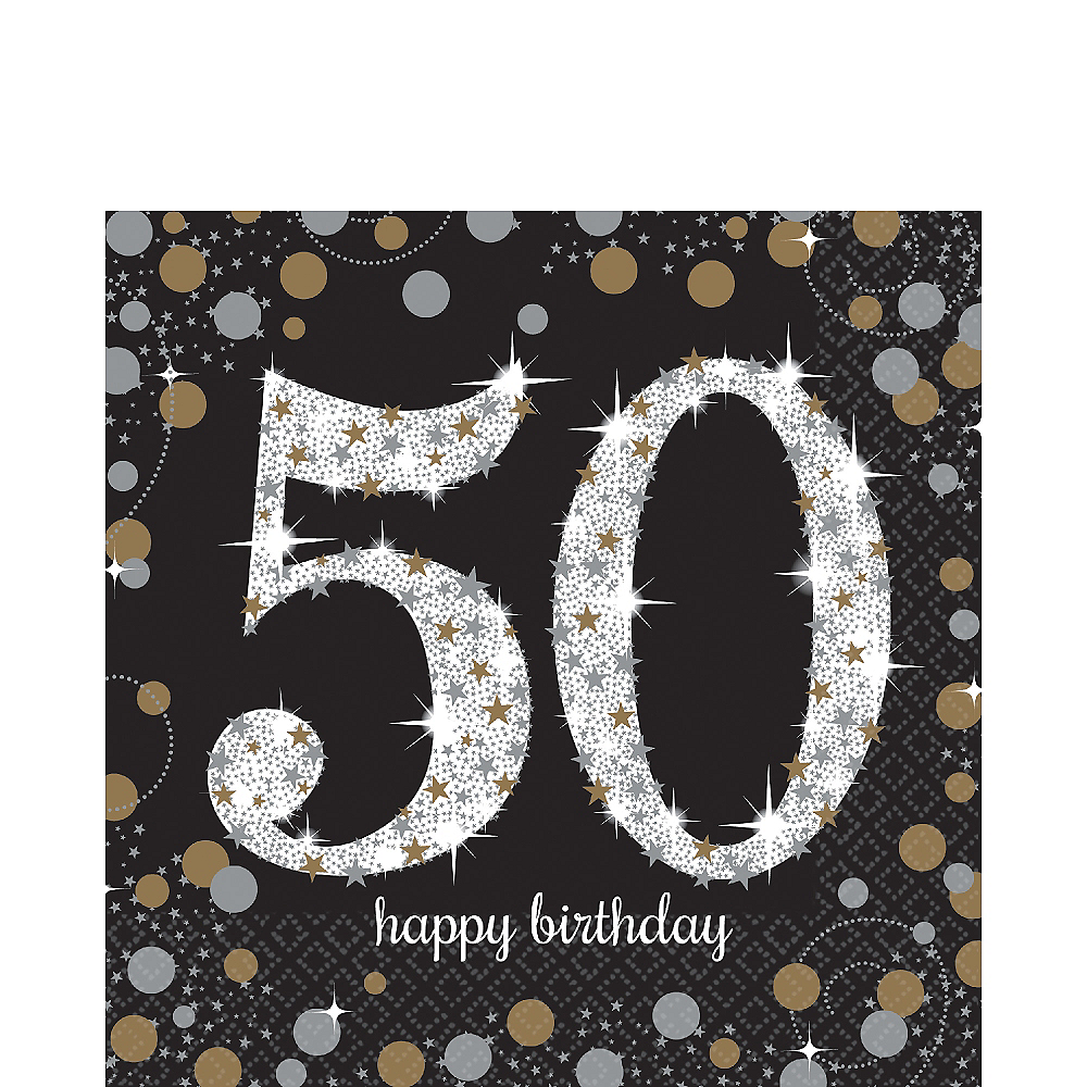 50th Birthday Lunch Napkins 16ct - Sparkling Celebration Image #1