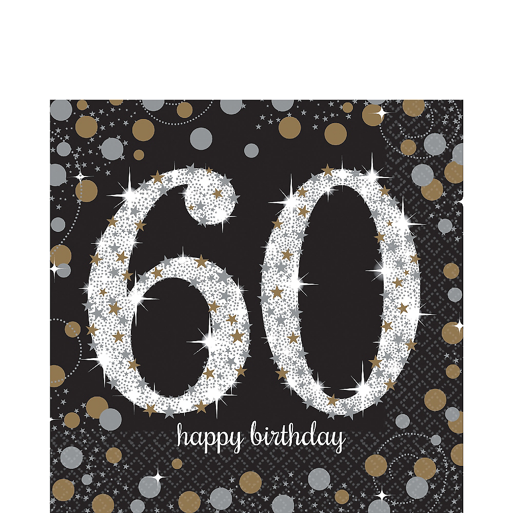 60th Birthday Lunch Napkins 16ct - Sparkling Celebration Image #1