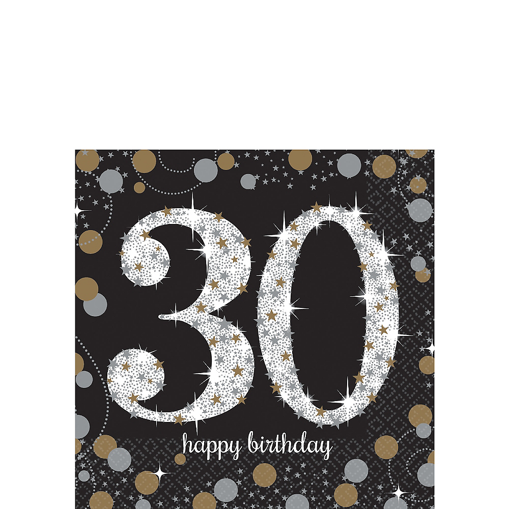 30th Birthday Beverage Napkins 16ct - Sparkling Celebration Image #1