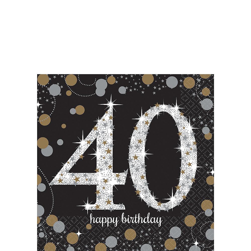 40th Birthday Beverage Napkins 16ct - Sparkling Celebration Image #1