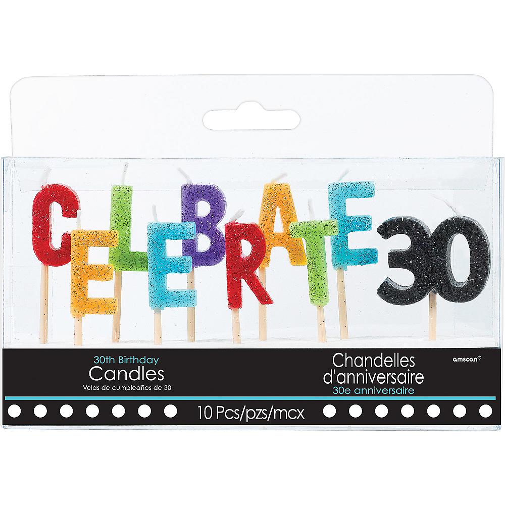 Glitter Celebrate 30 Birthday Toothpick Candle Set 10pc Image #1