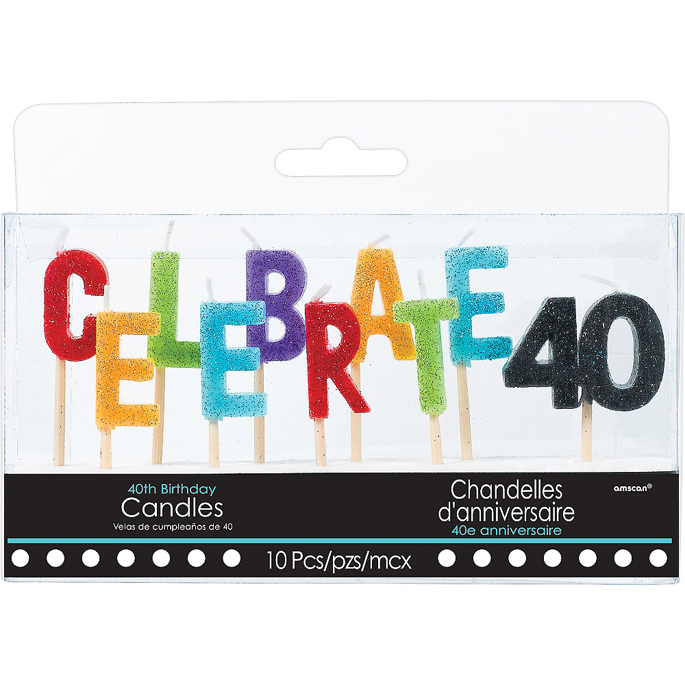 Nav Item for Glitter Celebrate 40 Birthday Toothpick Candle Set 10pc Image #1